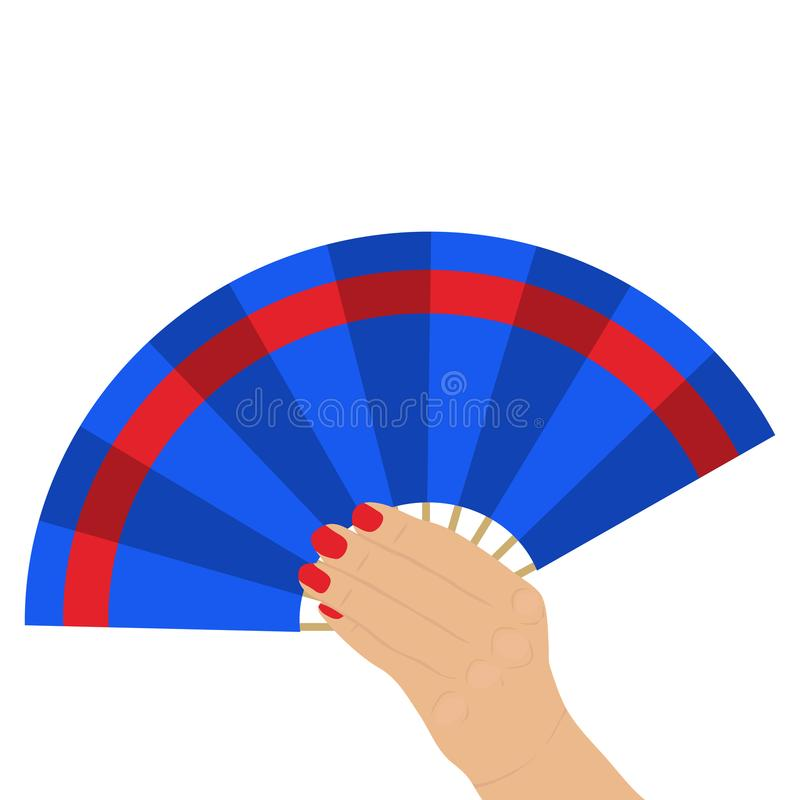 Fan in a female hand, waving a fan. stock illustration