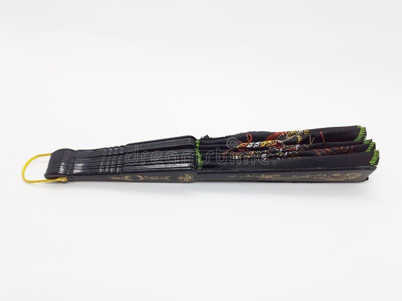 Fan florale en soie faite main se pliante en soie en bambou en bois de main de modèle style japonais chinois de cru de fan de rét images libres de droits
