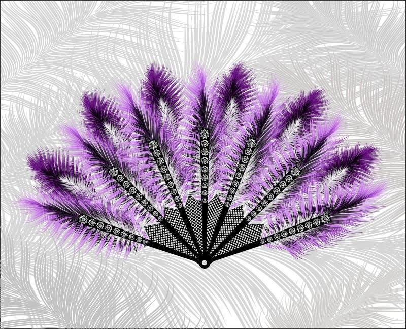 Fan hecha de plumas hermosas ilustración del vector