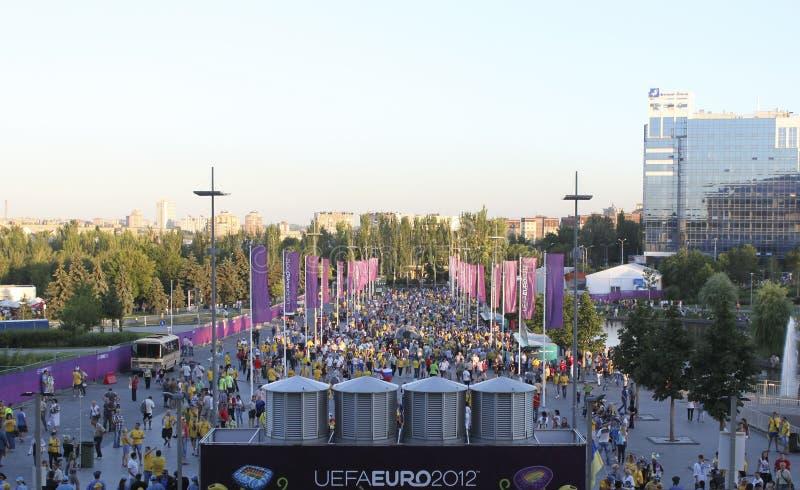 Fan iść euro 2012 dopasowanie w Donetsk przy Donbass areną zdjęcie stock