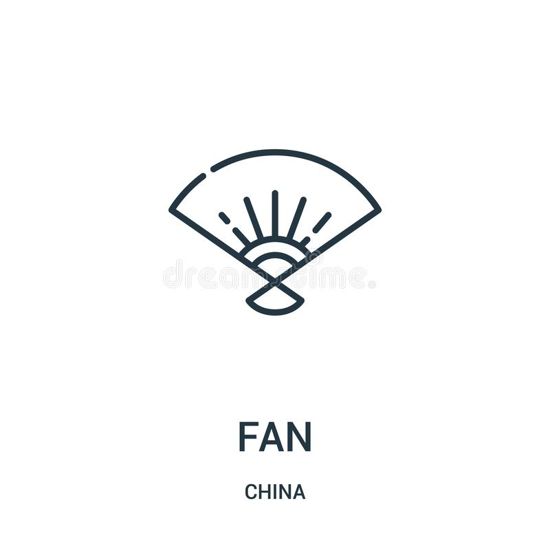 Fan icon vector from china collection. Thin line fan outline icon vector illustration. Linear symbol for use on web and mobile. Apps, logo, print media royalty free illustration