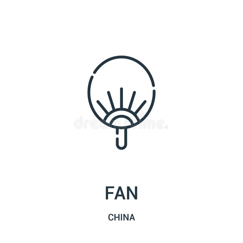 Fan icon vector from china collection. Thin line fan outline icon vector illustration. Linear symbol for use on web and mobile. Apps, logo, print media stock illustration
