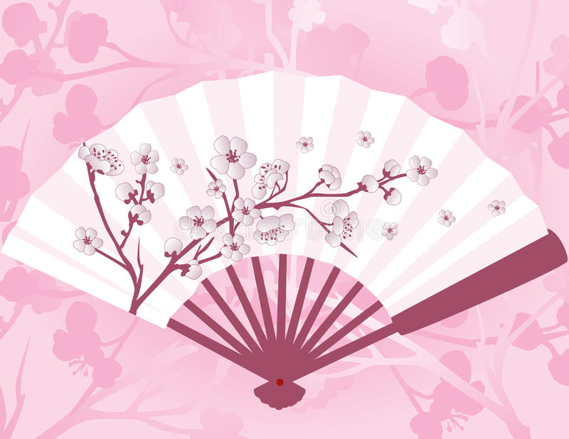 Fan japonaise de fleur illustration stock