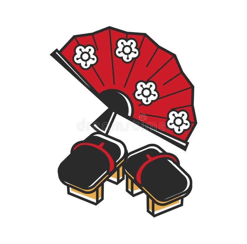 Fan japonesa con el estampado de flores y el tirón-flopes tradicional ilustración del vector
