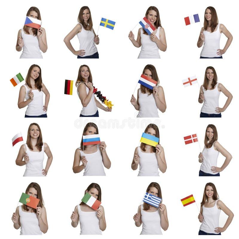 Fan med europeiska flaggor arkivfoto