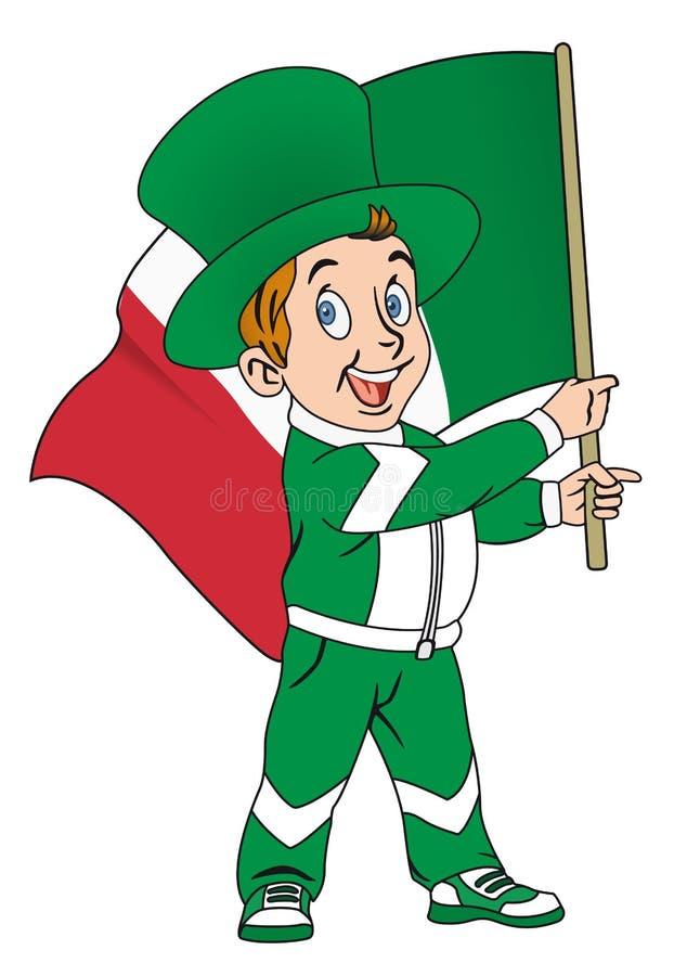 Fan med flaggan av Italien royaltyfri illustrationer