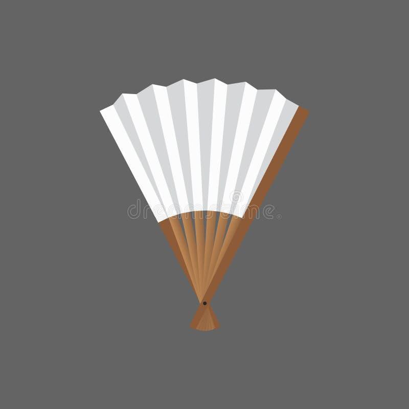 fan Mezzo aperto bianco e di legno nel vettore illustrazione di stock