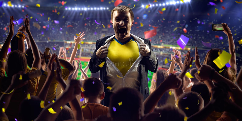 Fan na stadium gry biznesmenie obrazy royalty free