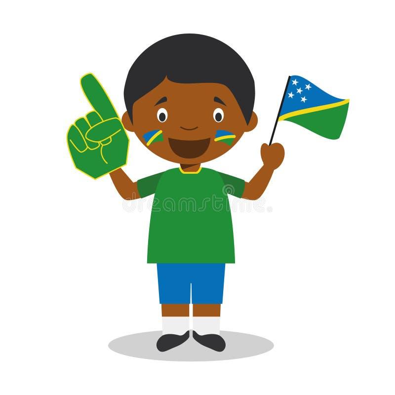 Fan nacional del equipo de deporte de Solomon Islands con el ejemplo del vector de la bandera y del guante ilustración del vector