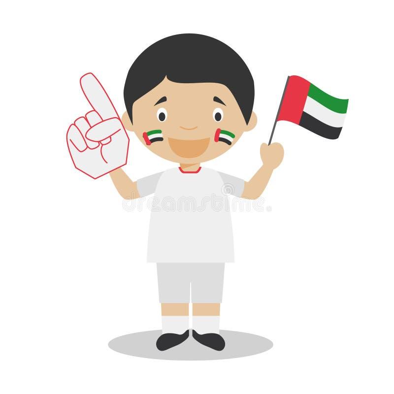 Fan nacional del equipo de deporte de United Arab Emirates con el ejemplo del vector de la bandera y del guante libre illustration