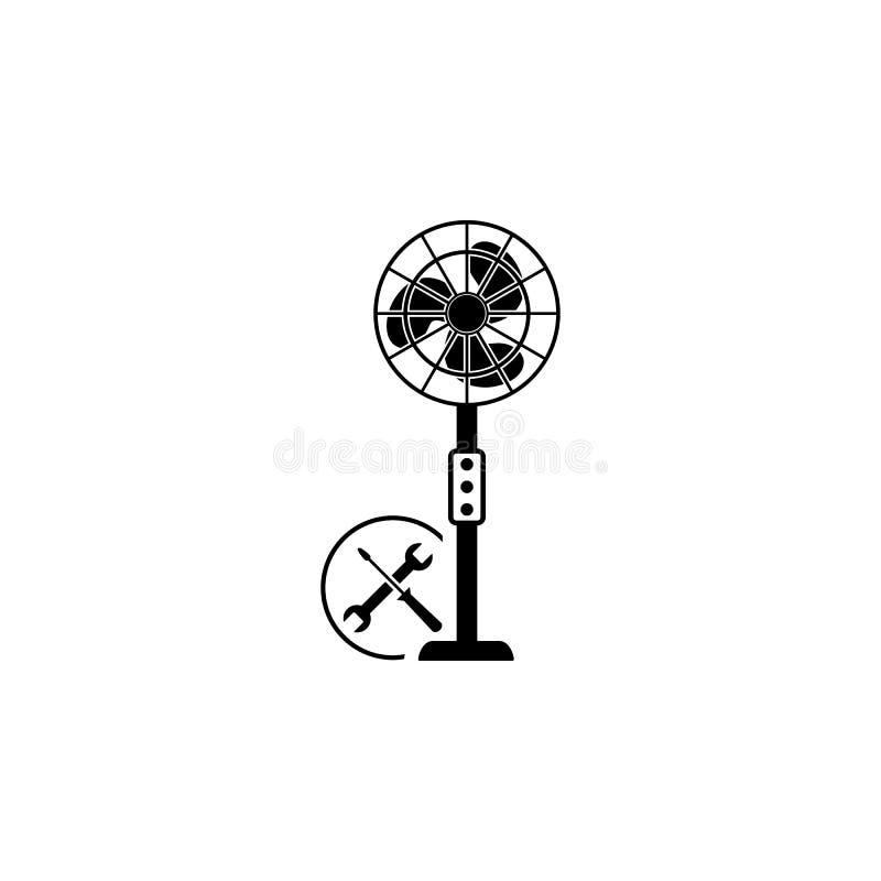 Fan naprawa, młot, śrubokręt ikona Element remontowa ikona dla mobilnych pojęcia i sieci apps Szczegółowa fan naprawa, młot, royalty ilustracja