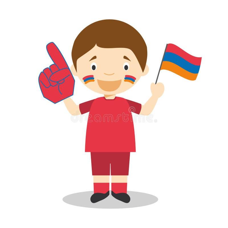 Fan nationale d'équipe de sport d'Arménie avec l'illustration de vecteur de drapeau et de gant illustration stock