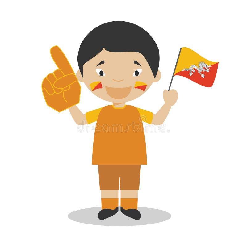 Fan nationale d'équipe de sport du Bhutan avec l'illustration de vecteur de drapeau et de gant illustration libre de droits