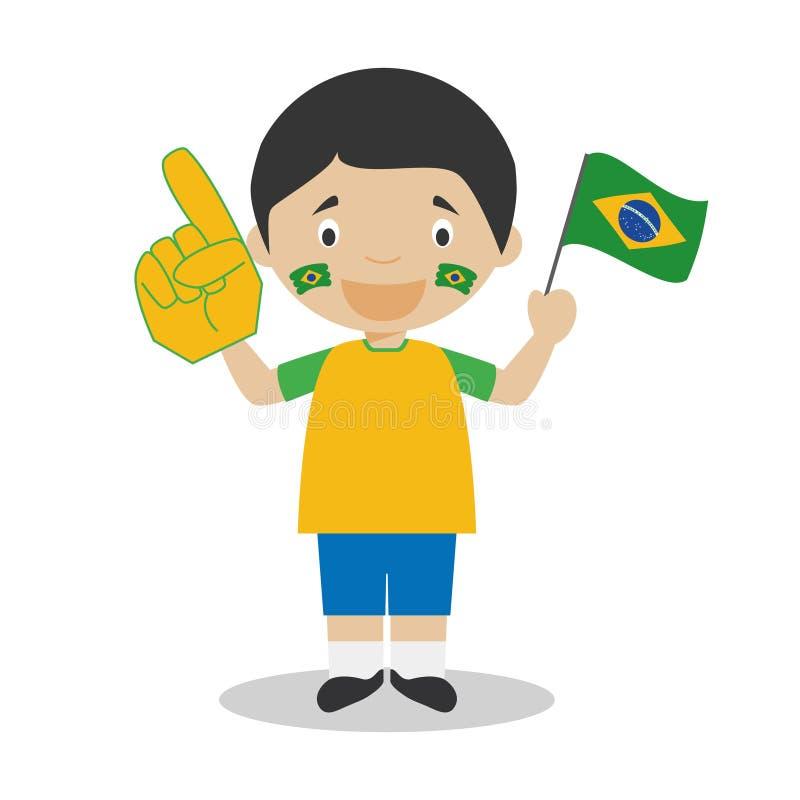 Fan nationale d'équipe de sport du Brésil avec l'illustration de vecteur de drapeau et de gant illustration de vecteur