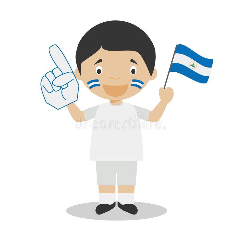 Fan nationale d'équipe de sport du Nicaragua avec l'illustration de vecteur de drapeau et de gant illustration libre de droits