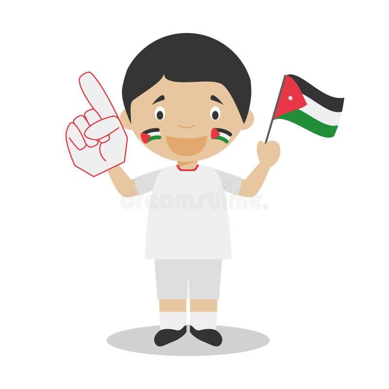 Fan nationale d'équipe de sport de Jordanie avec l'illustration de vecteur de drapeau et de gant illustration de vecteur