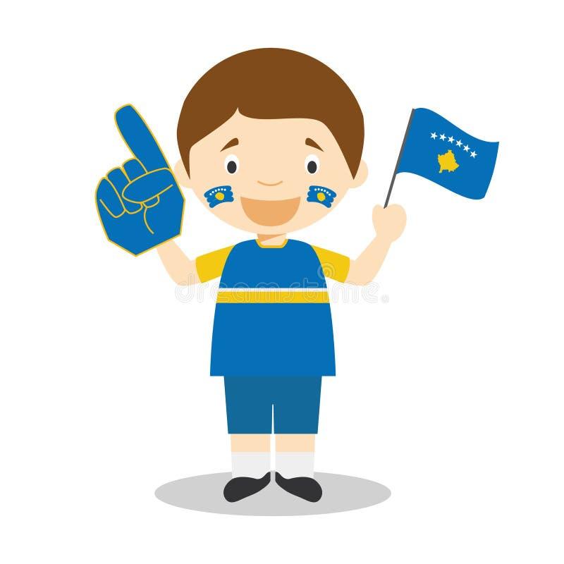 Fan nationale d'équipe de sport de Kosovo avec l'illustration de vecteur de drapeau et de gant illustration de vecteur