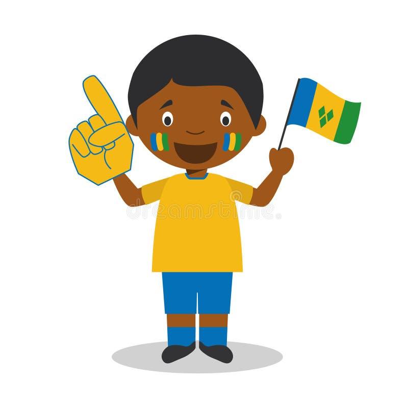 Fan nationale d'équipe de sport de Saint-Vincent-et-les-Grenadines avec l'illustration de vecteur de drapeau et de gant illustration de vecteur