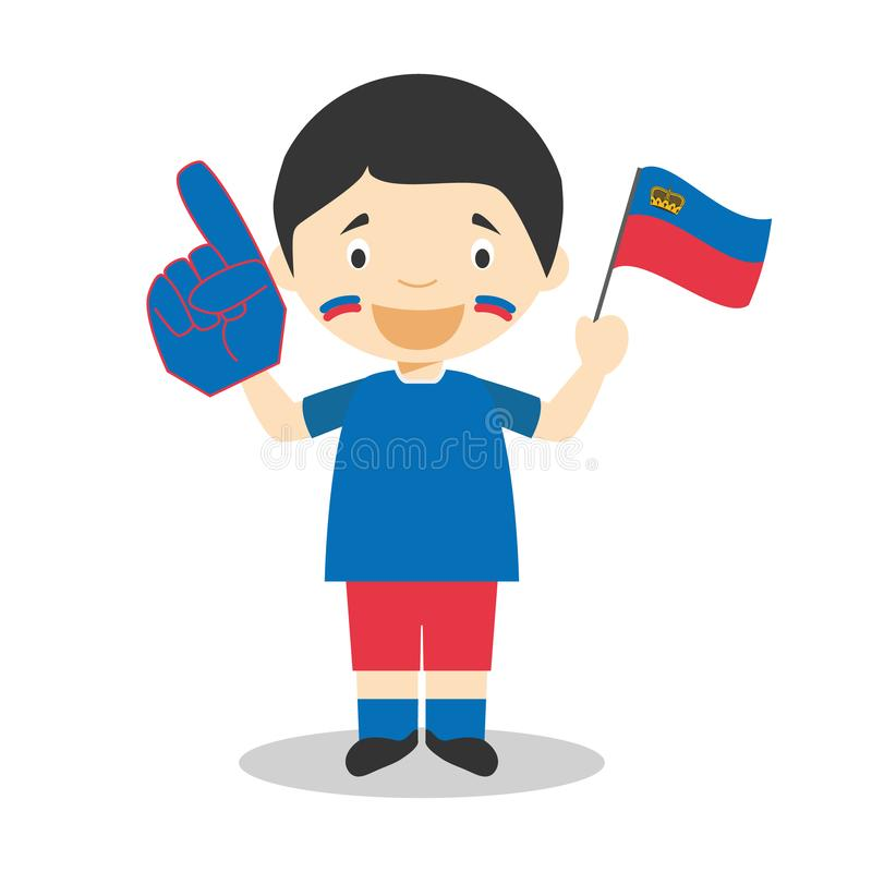 Fan nazionale dello sport di squadra dal Liechtenstein con l'illustrazione di vettore del guanto e della bandiera illustrazione di stock