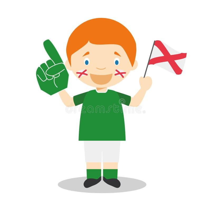 Fan nazionale dello sport di squadra dall'Irlanda del nord con l'illustrazione di vettore del guanto e della bandiera illustrazione di stock