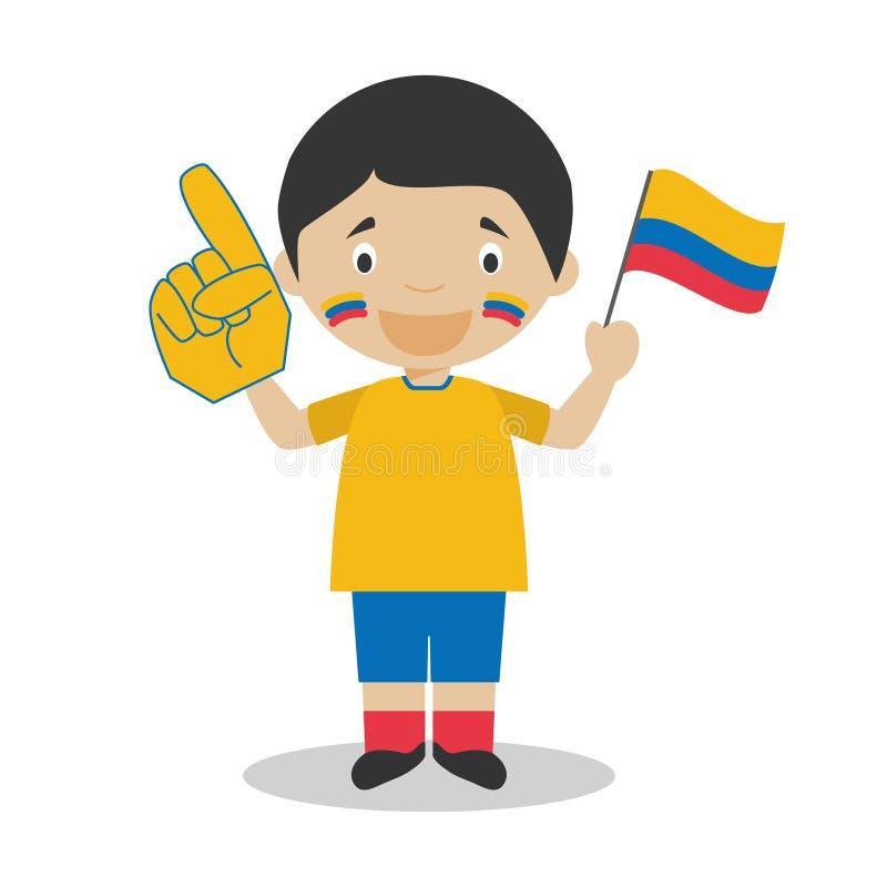 Fan nazionale dello sport di squadra dalla Colombia con l'illustrazione di vettore del guanto e della bandiera royalty illustrazione gratis