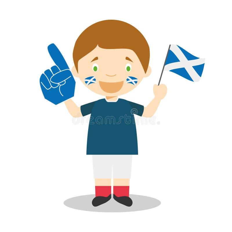Fan nazionale dello sport di squadra dalla Scozia con l'illustrazione di vettore del guanto e della bandiera royalty illustrazione gratis