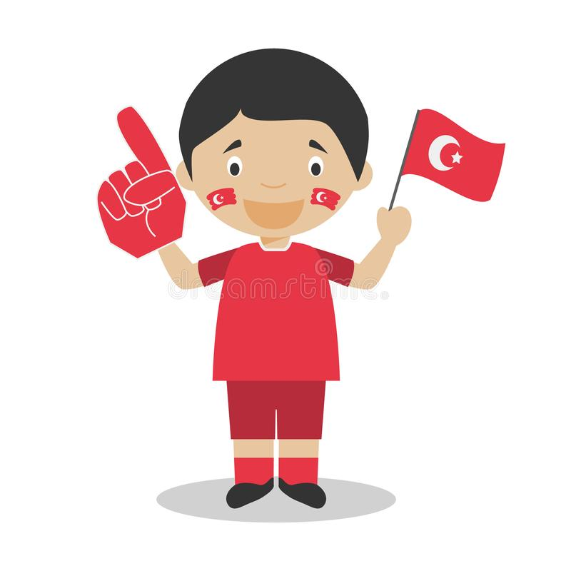 Fan nazionale dello sport di squadra dalla Turchia con l'illustrazione di vettore del guanto e della bandiera illustrazione di stock