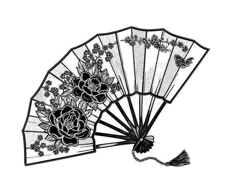 Fan oriental adornada con las peonías y las mariposas de las flores Ejemplo para su diseño, materias textiles, carteles del vecto stock de ilustración