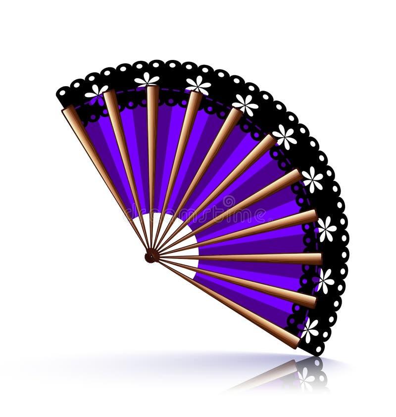Fan púrpura con el cordón negro ilustración del vector
