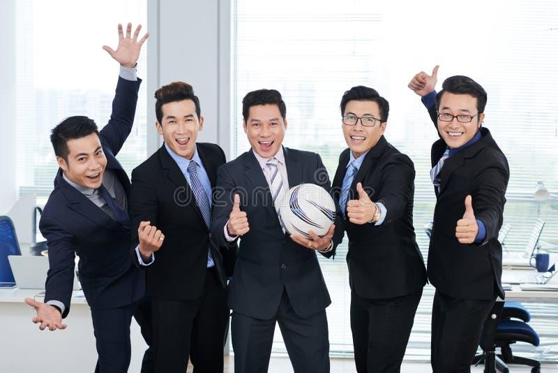 Fan Piłki Nożnej przy Otwartym planu biurem fotografia stock