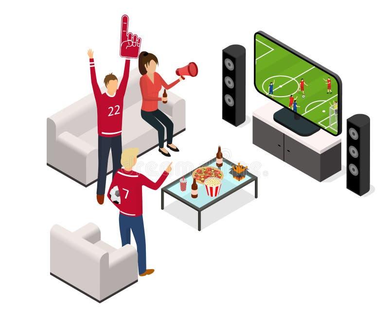 Fan Piłki Nożnej Tv pojęcia wnętrze z Meblarskim Isometric widokiem wektor royalty ilustracja