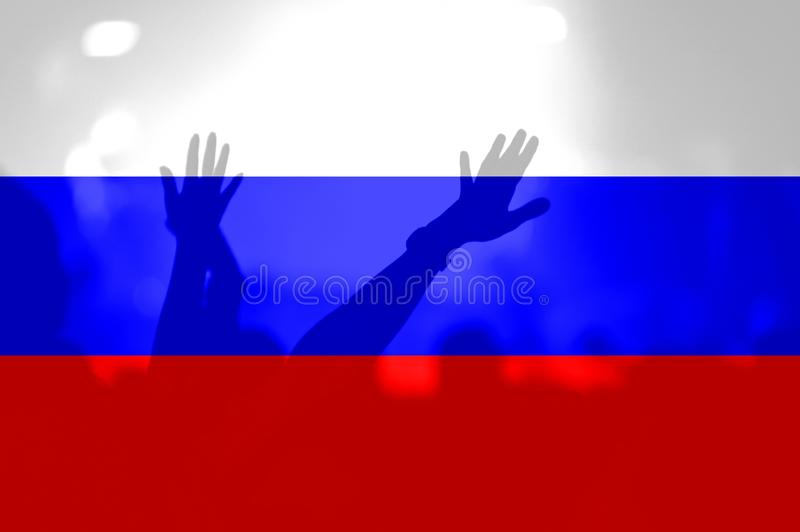 Fan piłki nożnej z mieszać Rosja flaga obraz stock