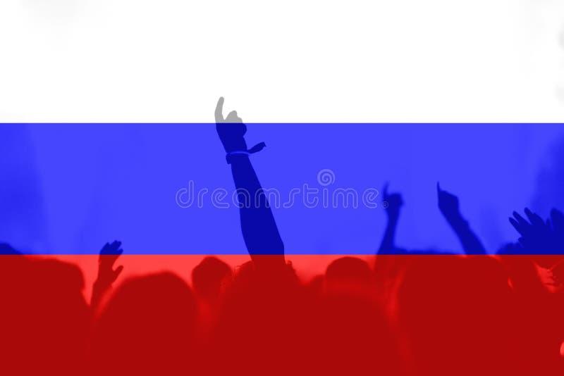 Fan piłki nożnej z mieszać Rosja flaga fotografia stock