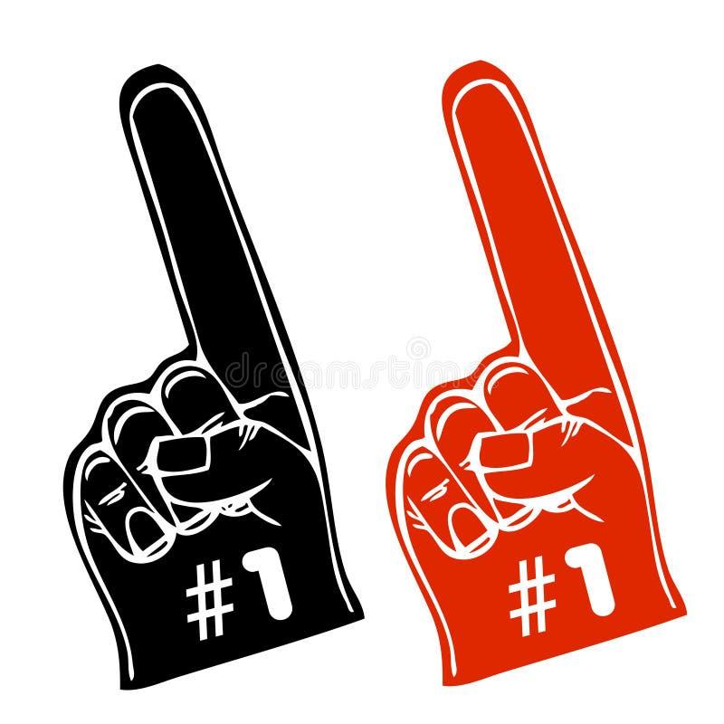 fan rękawiczki liczby jeden wektor ilustracji