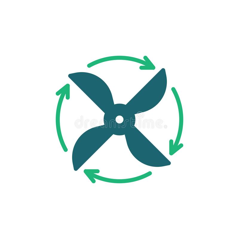 Fan rotation direction flat icon. Ventilation vector sign, Propeller rotating arrows lcolorful pictogram isolated on white. Symbol, logo illustration. Flat royalty free illustration