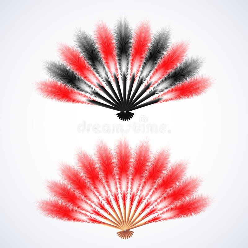 Fan rouge et noire de plumes d'isolement sur le fond blanc illustration libre de droits