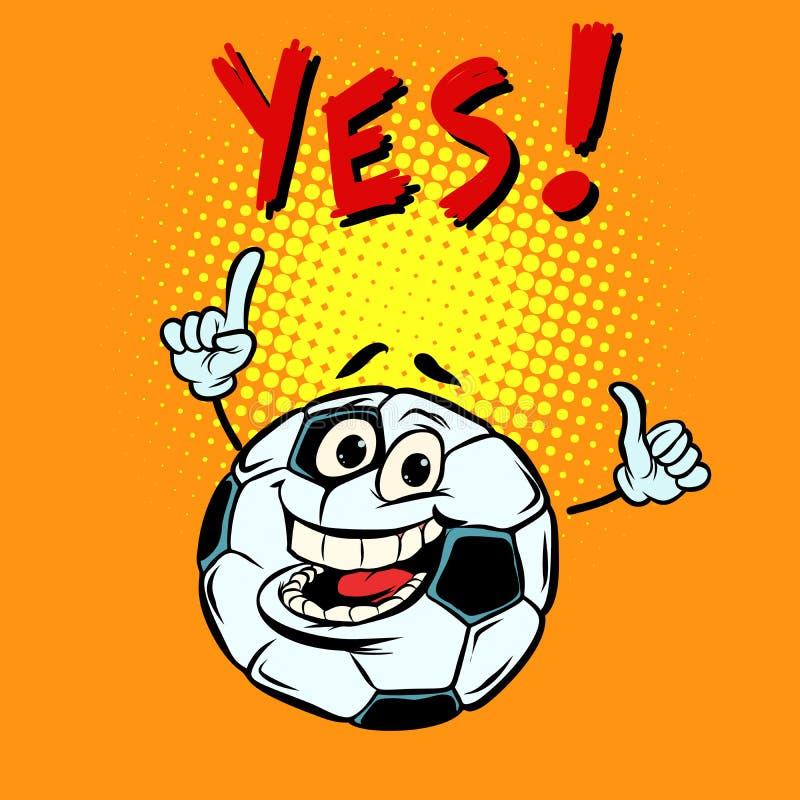 Fan sì felice Pallone da calcio di calcio Carattere divertente royalty illustrazione gratis