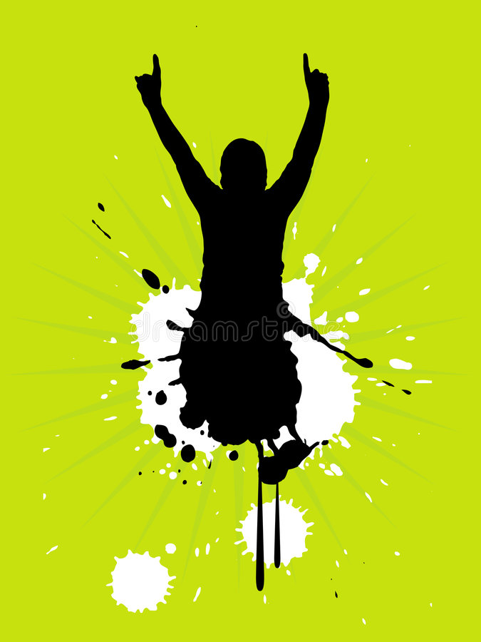 Download Fan SilhouettGrunge e stock vector. Image of music, excitement - 4308379