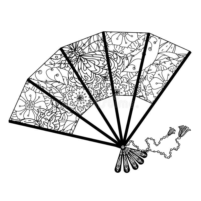 Fan som dekoreras av drog upp konturerna av fjärilar och asiatiska stilblommor stock illustrationer