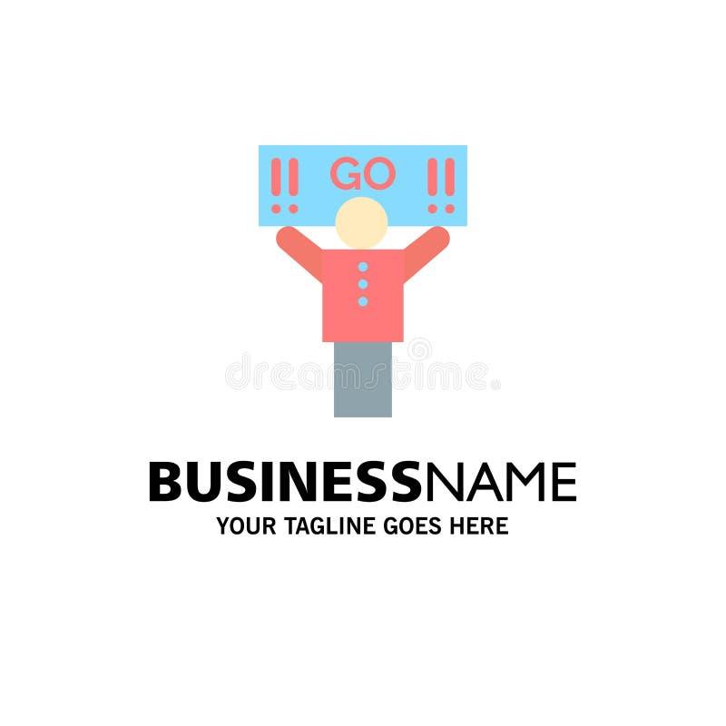 Fan, sport, supporto, affare Logo Template del sostenitore colore piano illustrazione di stock