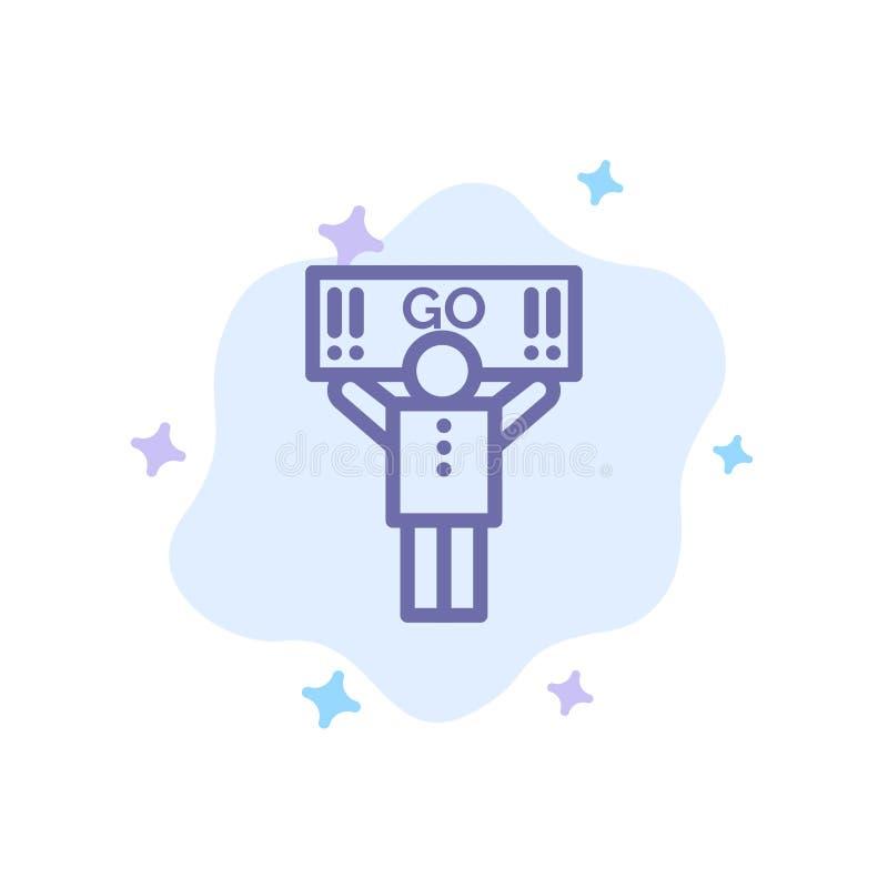 Fan, sport, supporto, icona blu del sostenitore sul fondo astratto della nuvola royalty illustrazione gratis
