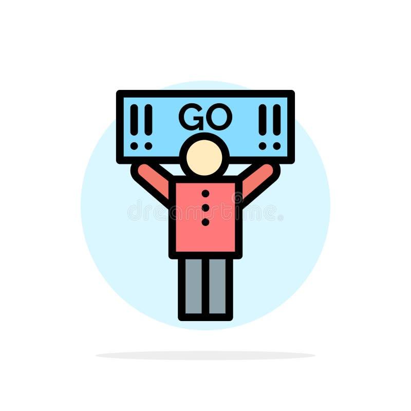 Fan, sport, supporto, icona piana di colore del fondo del cerchio dell'estratto del sostenitore illustrazione vettoriale