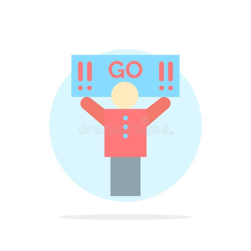 Fan, sport, supporto, icona piana di colore del fondo del cerchio dell'estratto del sostenitore illustrazione di stock