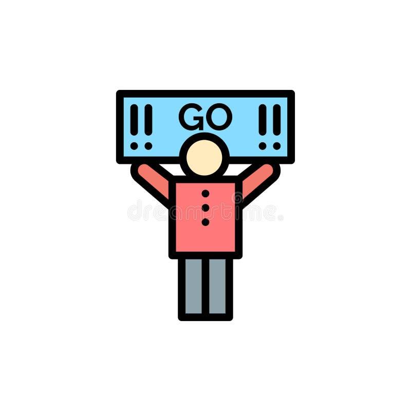 Fan, sport, supporto, icona piana di colore del sostenitore Modello dell'insegna dell'icona di vettore royalty illustrazione gratis
