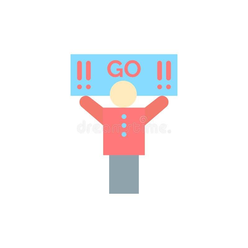 Fan, sport, supporto, icona piana di colore del sostenitore Modello dell'insegna dell'icona di vettore illustrazione vettoriale