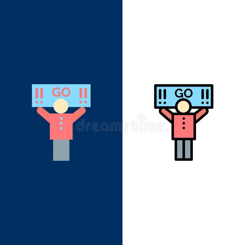 Fan, sport, supporto, icone del sostenitore Il piano e la linea icona riempita hanno messo il fondo blu di vettore illustrazione vettoriale