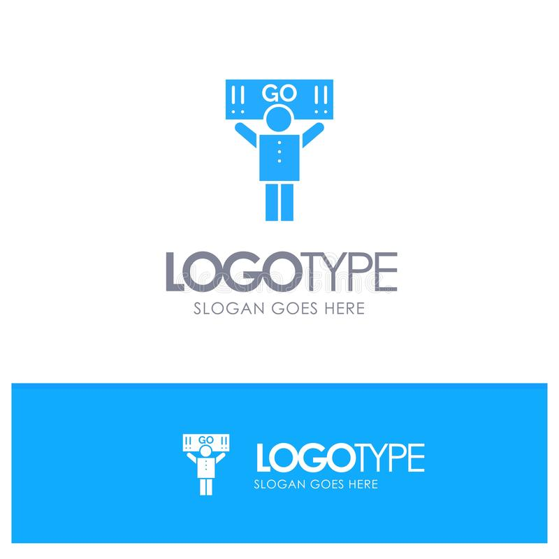 Fan, sport, supporto, logo solido blu del sostenitore con il posto per il tagline royalty illustrazione gratis