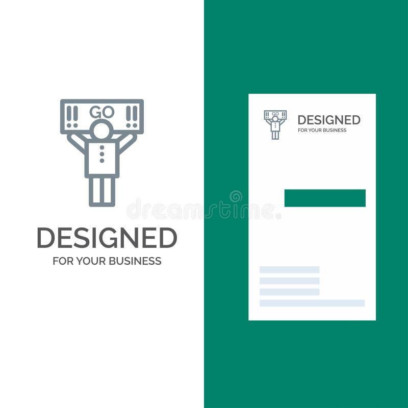 Fan, sport, supporto, sostenitore Grey Logo Design e modello del biglietto da visita illustrazione di stock