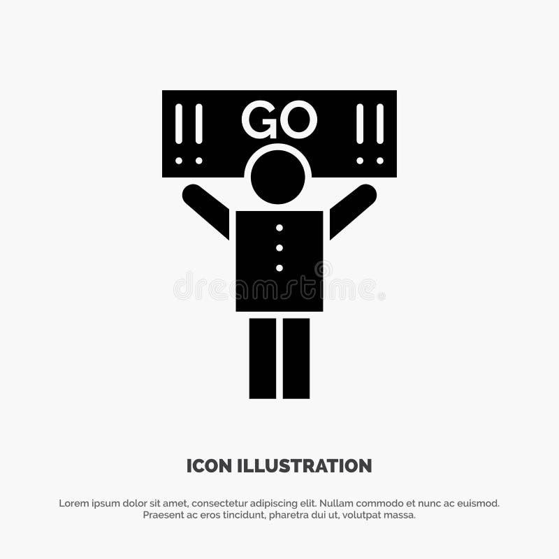 Fan, sport, supporto, vettore solido dell'icona di glifo del sostenitore illustrazione vettoriale