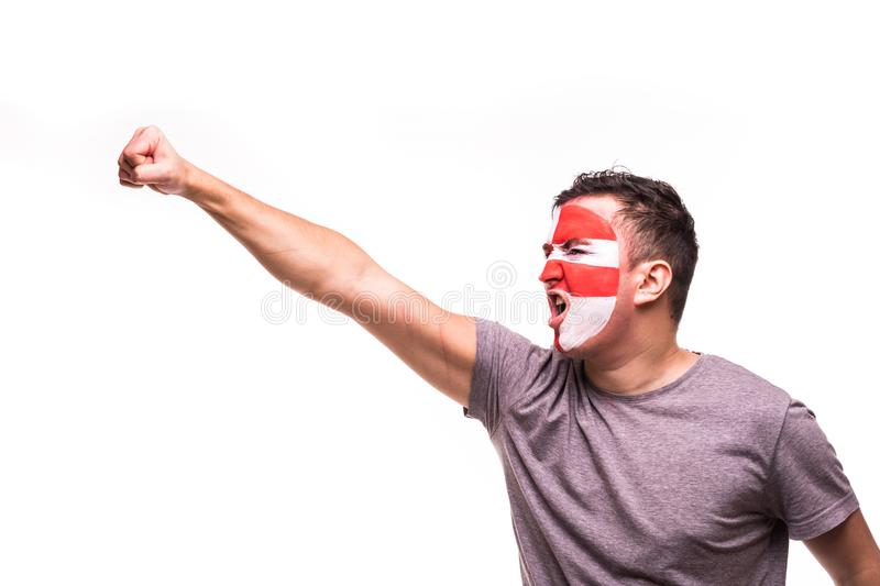 Fan support of Croatia national team with painted face shout and hand up isolated on white background stock photos